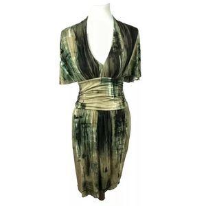 Weston Wear Stretch Knit Dress Camo Kimono Green